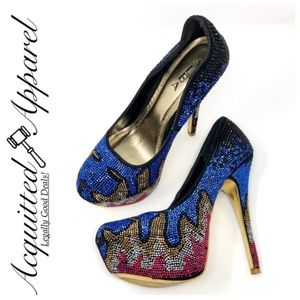 Alba Rhinestone Bling Embellished Platform Heels